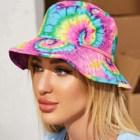 2020 new irregular purple tie dye potted hat fisherman hat