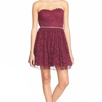 Junior Women's Way-In Strapless Lace Skater Dress,