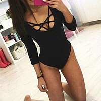 2016 Fashion Women Sexy Skinny Bandage Leotard Top Bodysuit Ladies Lace Up Plunge Playsuit