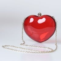 Red & Gold Translucent Hard Heart Clutch