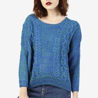 Marcia Marbled Knit Sweater - Blue/Green