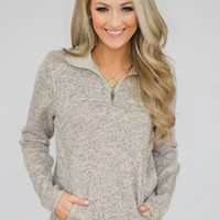 Thread & Supply Pullover Quarter Zip- Heather Oatmeal