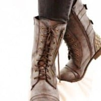 Weathered Brown Leather Lace-Up Combat Boots
