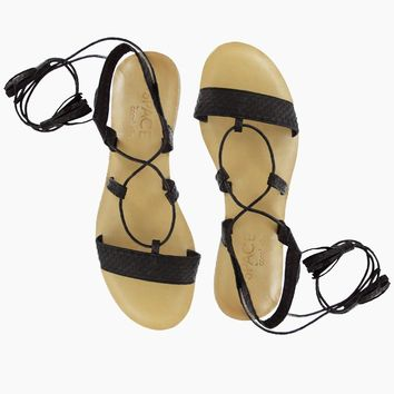 Tulum Wrap Around Tie Sandals - Black