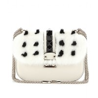 mytheresa.com - Lock Small leather and mink shoulder bag - Luxury Fashion for Women / Designer clothing, shoes, bags