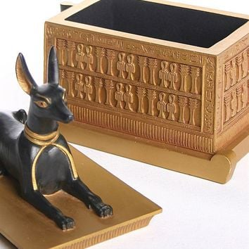 Anubis Egyptian Jackal Dog on Golden Chest from Tutankhamun Tomb 6.4H