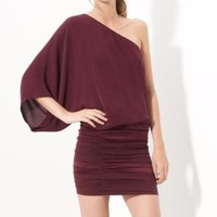 $395 Alice + Olivia Maroon Red Russo One Shoulder Silk Ruched Dress 0 | eBay