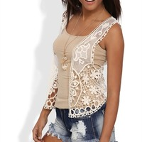 Sleeveless Crochet Vest with Open Front and Lace Details