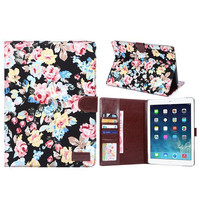 Floral Print Leather Smart Tablet Cover Case For iPad