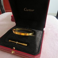 Authentic Cartier Love 18K Yellow Gold Bangle With Screwdriver, Size 17