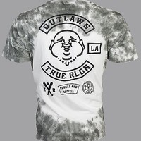 Licensed Official TRUE RELIGION Mens T-Shirt OUTLAWS Buddha Dark Grey Tie Dye $89 Jeans NWT
