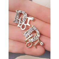 Dior Fashion New Letter More Diamond Personality Accessories Earring