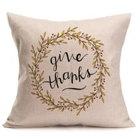 Thanksgiving Day Pillow Case Happy Fall Soft Linen Pillow Case Cushion Cover Home Decor  Bedroom Soft Decorative Pillow Covers