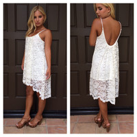 Ever Bloom Hi-Low Lace Dress - IVORY