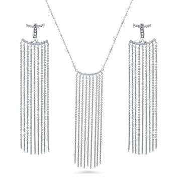 Sterling Silver CZ Bar Fringe Necklace and Earrings SetBe the first to write a reviewSKU# vs540-01