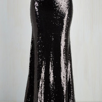 Luxe Long Maxi Oh Say Can You Sheen Skirt in Black