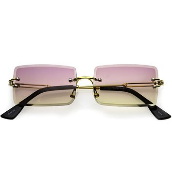Luxe Color Gradient Bevelled Lens Metal Rectangle Sunglasses D223