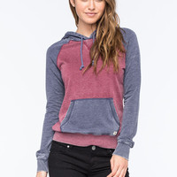 Billabong Moving On Womens Raglan Pullover Hoodie Navy Combo  In Sizes