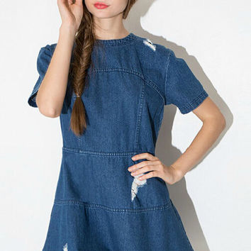 Blue Denim Ripped Short Sleeve Dress
