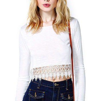 White Long Sleeve Cut Out Lace Crop Tops