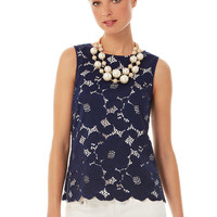Lilly Pulitzer Iona Sleeveless Floral Lace Shell