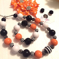 5PC Orange Black and White Hair Bow, Earring, Chunky Bead Bubble Gum Necklace Little Girl Jewelry Set
