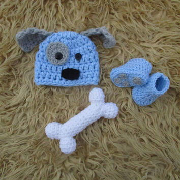 Crochet Puppy Outfit Newborn Puppy Hat Baby Puppy Hat Baby Boy Puppy Hat Crochet Puppy Hat Newborn Photo Prop Coming Home Outfit