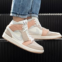 Nike Air Jordan 1 Contrast casual cultural basketball shoes beige white pink