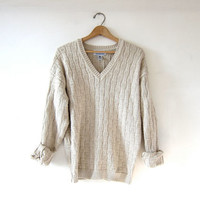 vintage boyfriend sweater. loose fit vneck pullover. oatmeal wool sweater. textured cotton knit.
