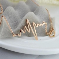 Trendy Heart Chain Neckalces Shellhard Vintage Love Heartbeat Electrocardiogram Pendant Necklace For Women Fashion Jewelry