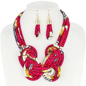African Print Fabric Bib Necklace And Earrings Set