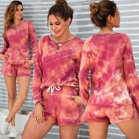 2020 autumn and winter new women's fashion tie-dye long-sleeved T-shirt shorts sports suit two-piece suit