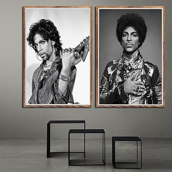 Prince Rogers Nelson Black White Rock music Singer Pop star Poster Prints Art Painting Wall Pictures Home Decor картины plakat
