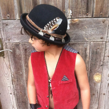 Pre holiday SALE gypsy kid bowler hat // childrens, holiday, wool, feathers, gypsy, christmas, kids