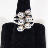 Sterling Silver 925 6 Ball Cocktail Ring In Gift Box