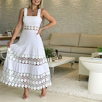 Fashion sweet lace flower stitching beach dress cake dress