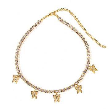 Gold butterfly necklace choker