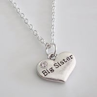 Big Sister Necklace, Heart Necklace, Personalized Necklace, Silver necklace, Sister Gift