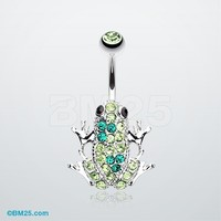 Jumping Frog Multi-Gem Belly Button Ring