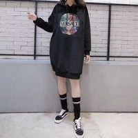 Versace Women Casual Fashion Velvet Personality Letter Pattern Medium Long Section Long Sleeve Thickened Hooded Sweater Dress