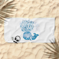 Cute Watercolor Whale Beach Towel by noondaydesign