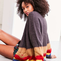 Ecote Gigi Cozy Brushed Colorblock Cardigan - Urban Outfitters
