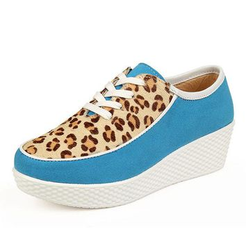 Leopard Lace Up Candy Color Platform Casual Shoes