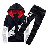 2017 brand sporting suit men warm hooded tracksuit track polo men's sweat suits set letter print large size sweatsuit 5XL sets