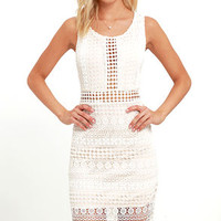 Set to Stun Beige and Ivory Lace Midi Dress