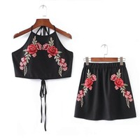 Crop Tops Women's Sets Embroidery Rose Backless Women Tanks Top+Skirts Summer Clothes Jupe Femme Saias Das Mulheres#212