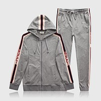 GGUCCI Tide brand men's personality wild casual hooded running sports suit two-piece Grey
