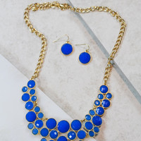 Small Circle Game Day Necklace and Earring Set in Blue