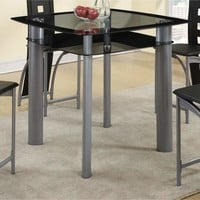 Square Glass Top Counter Height Dining Table With Metal Legs Black and Silver