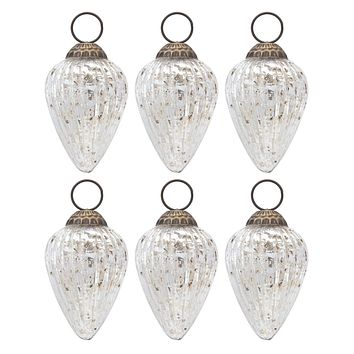 6 Pack   Small Mercury Glass Ornaments (2 to 2.25-inch, Silver, Laura Design) - Great Gift Idea, Vintage-Style Decorations for Christmas, Special Occasions, Home Decor and Parties